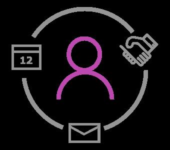 Purple stick man in circle icon