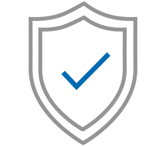 Shield with a blue tick icon